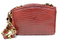 Gorgeous 1990's-2000's Dark RED ALLIGATOR Belly Skin Shoulder Bag SATCHEL - Maxima - Titti Del'Aqua - ITALY