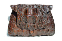 Lovely Brown 1930's-40's Hornback Alligator Skin CLUTCH Bag