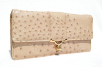 Gorgeous Buff NUDE 1980's Ostrich Skin CLUTCH Shoulder Bag
