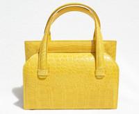 YELLOW 1990's-2000's Handmade MAXIMA Alligator Belly Skin Handbag - Titti Del'Aqua - ITALY