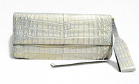NWT 1990's-2000's Irridescent BLUE GOLD Crocodile Belly Skin Clutch Bag - WORTH