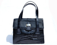 Midnight Navy BLUE 1990's-2000's ALLIGATOR Belly Skin Handbag Shoulder Bag - SUAREZ