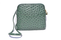 Dark GREEN Early 2000's Ostrich Skin Cross Body Shoulder Bag