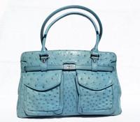 Baby BLUE 1990's-2000's Ostrich Skin Handbag Shoulder Bag