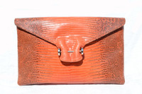 Orange 1990's-2000's (Ring) LIZARD Skin CLUTCH Bag w/ Silver Piercing - PANTERA