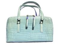 BLUE 1990's-2000's CROCODILE Porosus Skin Handbag Shoulder Bag
