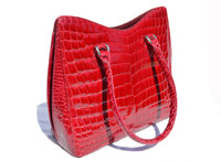Stunning RED 1990's-2000's ALLIGATOR Skin Handbag Shoulder Bag