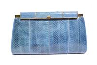 Gorgeous BLUE 1970's-80's COBRA Snake Skin Clutch Shoulder Bag