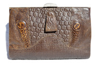 1940's Deco-Style QUILTED Lizard Clutch Purse w/Silver Hardware