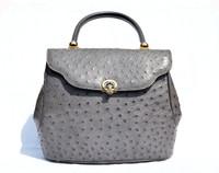 XL GRAY 1990's-2000's Ostrich Skin Handbag SATCHEL Shoulder Bag with Unique Clasp!