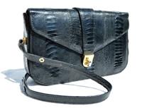 1970's-80's Dark NAVY BLUE OSTRICH LEG Skin SHOULDER Bag - CORBEAU