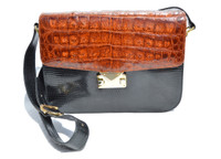 Cognac & Black LANA MARKS -  LANA OF LONDON 1990's CROCODILE & LIZARD Skin Shoulder Cross Body Bag