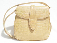 Lorraine 1990's Blonde Tan CROCODILE Porosus Belly Skin Crossbody  Bag