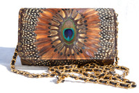 BOHO 1970's-1980's PEACOCK Feather Shoulder CROSS BODY Bag - Comeco