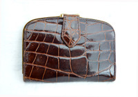 1970's Chocolate Brown ALLIGATOR Belly Skin WALLET Change Purse - Germany