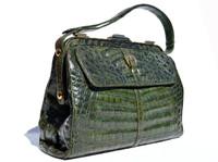 XL Dark GREEN 1990's Locking CROCODILE Belly Skin Satchel SHOULDER Bag - MODELL ROYAL