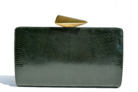 Dark GREEN 2000's De VECCHI by Hamilton Hodge LIZARD Skin CLUTCH - Great CLASP!