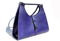 Purple GUCCI 1990's-2000's Karung Snake Skin Shoulder Bag