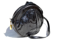 Round CANTEEN Style BLACK 1970's-80's COBRA Snake Skin Shoulder Cross Body Bag -SAKS