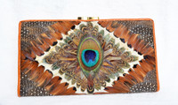 Stunning 1970's PEACOCK & Pheasant Feather Checkbook Wallet