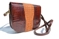 Brown & Caramel 1980's Hornback Crocodile Skin Shoulder Cross Body Bag