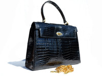 1980's-90's PELLETTERIE Black CROCODILE Porosus Belly Handbag SATCHEL - ITALY