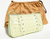 Pale GREEN Early 2000's Studded CROCODILE Tail Skin Shoulder Bag - FALCHI