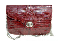 Dark RED 1960's Double ALLIGATOR Belly Skin Clutch Shoulder Bag - Renato Corte