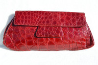 "Saks Fifth Avenue XL 13"" Candy Apple RED 1940's-50's ALLIGATOR Skin CLUTCH bag"