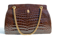 Stunning 1950's-60's BROWN Crocodile POROSUS Bag - Le Gout de Jour
