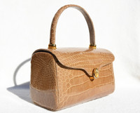 "Gorgeous ""Lunchbox"" Style Tan 1990's Crocodile Skin Handbag"
