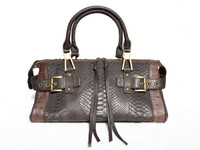 BOHO Casual Dark TAUPE & Brown 2000's SNAKE & OSTRICH Skin SATCHEL Handbag Shoulder Bag