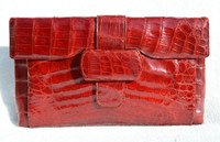"XXL Gorgeous 15"" RED 1950's ALLIGATOR Belly Skin Clutch Bag - ARGENTINA"