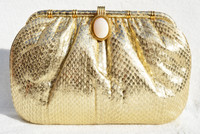 METALLIC GOLD 1970's-80's COBRA Snake Skin Clutch Shoulder Bag