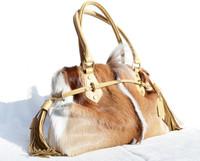 XL 2000's SPRINGBOK Fur Shoulder Bag Tote - Diane Gail