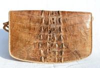 Tan & Gray BOHO Style 1960's Hornback Crocodile Skin CROSS BODY Shoulder Bag