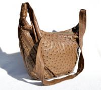 Dark Taupe Mocha 1990's-2000's OSTRICH Skin HOBO Shoulder Bag Tote - JOHANN KNECHTL