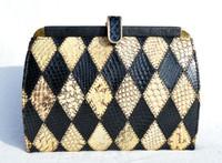 1990's Structured Yellow & Black Patchwork COBRA Snake Skin CLUTCH Shoulder Bag