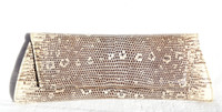 Cream & Gray Early 2000's Ring Lizard Skin CLUTCH Shoulder Bag - LAI!
