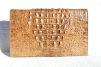 Unisex BOHO Tan 1960's-70's Hornback Crocodile Skin Shoulder Bag