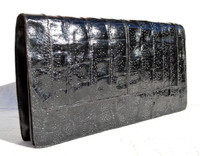 Esteve Jet BLACK  1950's-60's Sleek ALLIGATOR Skin Clutch - Spain