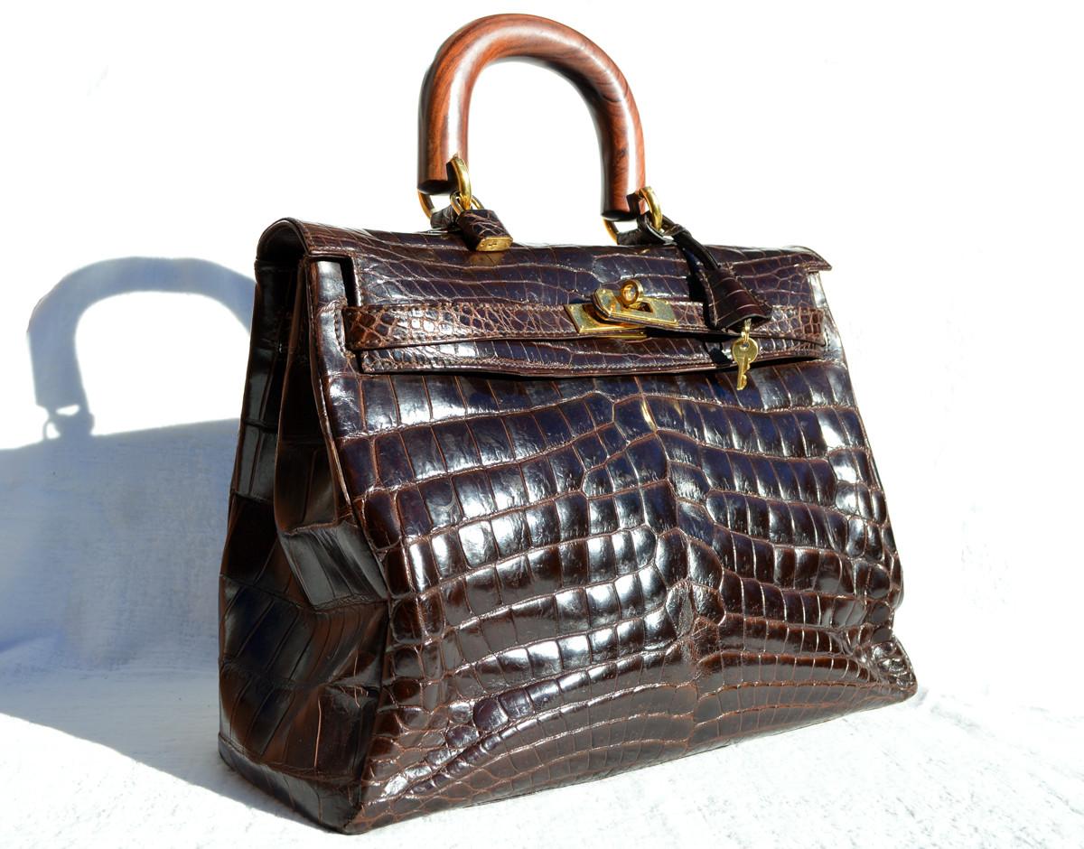 d0f17528d04f ... Dark Brown CROCODILE Belly Skin BIRKIN Bag SATCHEL Shoulder Bag -  HERMES Style! Image 1. Loading zoom