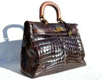 Dark Brown CROCODILE Belly Skin BIRKIN Bag SATCHEL Shoulder Bag - HERMES Style!