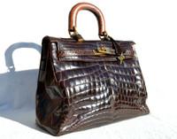 Dark Brown CROCODILE Belly Skin BIRKIN Bag SATCHEL Shoulder Bag - HERMES Style!