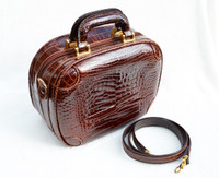 Unisex Sant'Agostino Early 2000's ALLIGATOR Belly Skin Carry-on Toiletry Luggage Bag - w/Shoulder Strap - ITALY