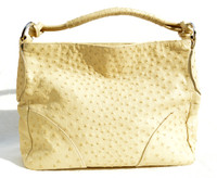 Stunning XL 15 x 10 Early 2010's Buttercream YELLOW Ostrich Skin Handbag Shoulder Bag - DILUCIO