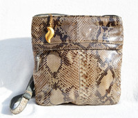 Taupe 1970's-80's PYTHON Snake Skin CROSS Body Messenger Shoulder Bag -SHARIF
