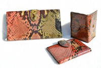 BOSCA 1990's Colorful PYTHON Snake Skin Wallet, Card Case & Key Valet SET!