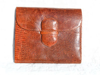 1970's-80's Ladies Cognac LIZARD Skin Wallet & Card Case