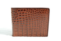 New! Men's 1990's-2000's Cognac Brown Crocodile Flank Skin Wallet